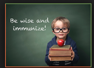 """Young boy with books and big glasses with words """"Be wise and Immunize"""""""