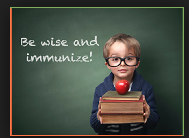 "Young boy with books and big glasses with words ""Be wise and Immunize"""